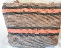 Handbag made from Raffia Yarn. handmade crochet Browns and Orange, ready to ship now.