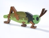 Grasshopper Decor and Kids Puzzle in Green