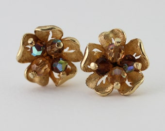 Vintage Signed CORO Goldtone Gold Tone Dark Brown Pale Amber Glass Aurora Borealis Beaded Flower Cluster Clip On Earrings