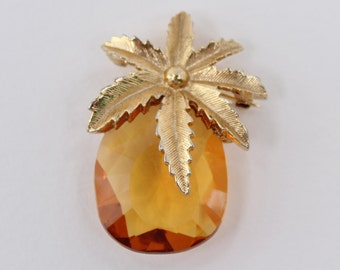 Vintage Sarah Coventry Autumn Haze Goldtone Amber Glass Teardrop Flower Pineapple Convertible Brooch Pin Pendant Necklace
