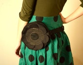Black Flower fanny pack, belt bag, small purse,party bag,romantic bag, black and white polka dot lining  -ready to ship