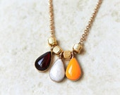 Tri Colors teardrop Necklace