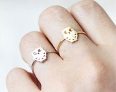 Cute Owl Ring, adjustable ring / choose your color- gold and silver