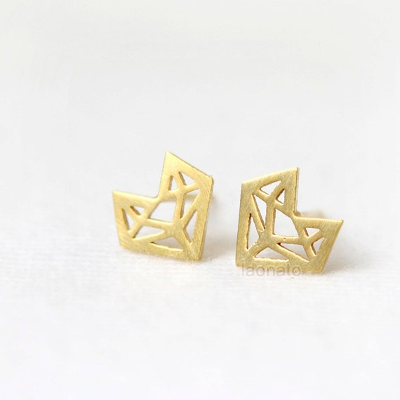 N01 Origami Fox Earrings / choose your color, gold and silver