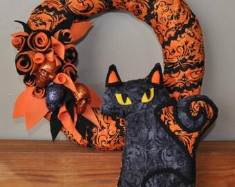 Fraidy Cat Halloween Plush Spooky Damask Ghost with black gimp