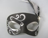 Black and Silver Leather Masquerade Mask
