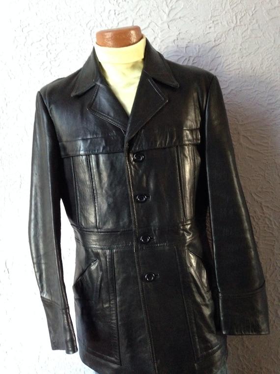 70's Vintage Men's Black Leather Jacket Car Coat super soft leather 42