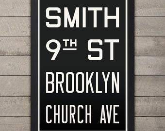 BROOKLYN (SMITH / 9th ST) New York City Subway Sign. Bus Scroll. 12 x 18 Rollsign Print