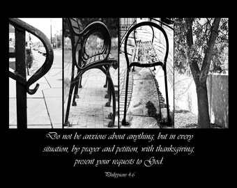 PRAY Letter Photos Alphabet Photography - with quote (various sizes)