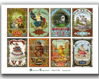 French Ads Packaging Advertising Trades Collage Sheet Antique Ads for Decoupage Paper Backgrounds ATC ACEO size Old Promos aw 586