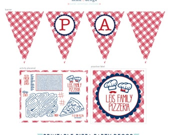 Pizza Party Red Gingham - Printable Decor