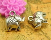 20 pcs Antique Silver Elephant Charms Two Sided 11x8mm CH1796