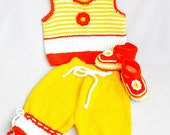 Sale - Knitted baby set, set  in three parts-pants, vest and booties , summer baby set,  READY TO SHIP