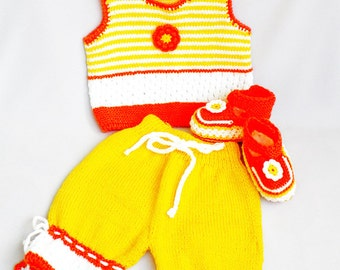 Discount 35%  - Knitted baby set, set  in three parts-pants, vest and booties , summer baby set,  READY TO SHIP
