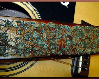 FOREST LEAVES Version 1 Design • A Beautifully Hand Tooled, Hand Crafted Leather Guitar Strap
