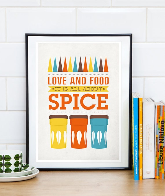 kitchen art, cathrineholm poster, mid century modern, quote print, kitchen poster, kitchen decor, cooking  print, food art, love quote