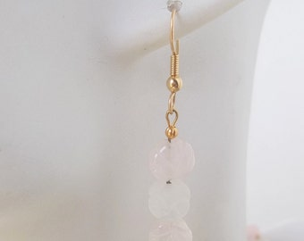 Rose Quartz Leaves with Frosted Quartz Flower Earrings