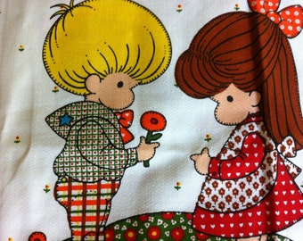 Fabric Panel for Pillow Joan Wals Anglund Friends Little Girl Friends Cottage Chic Vintage Fabric Panel Bright Colors Quilt Squares
