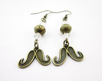 Mustache Earrings Bronze Charms, Clear Swarovski Bicone Elements, Bronze Beads, Face Hair,
