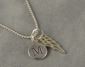 Custom Silver Angel Wing Initial Necklace - Personalized Necklace - Faith - Protection - First Communion, Gift Idea Mom, Daughter