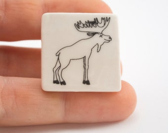 Porcelain Handmade Brooch with Moose - Ceramic Jewelry - Stag Party Badge