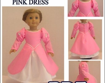 The Little Mermaid Pink Dress PDF Pattern for AG Doll - Instant Download