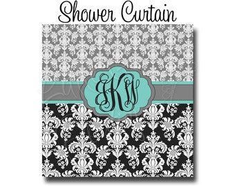 "Custom Personalized Monogram Shower Curtain - You Choose Size , 70"" x 70"", 70"" x 90"", or ANY size You Choose Colors -  Damask"
