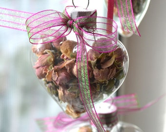 Pink Roses in a Glass Heart Ornament Valentine