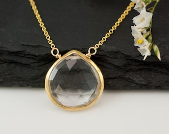 Clear Quartz Necklace - 14k Gold Filled Chain - bezel set necklace - gemstone necklace - Gold necklace -