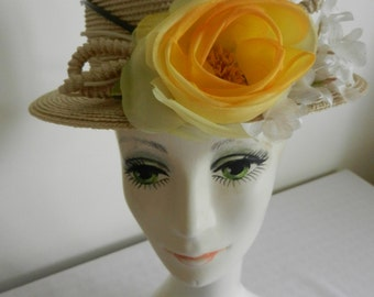 Vintage Straw Hat with Yellow Flower by Emme Boutique for Frank Olive