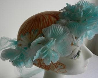 Snapchat Flowerfilter Handmade  Crown Wreath in Aqua Daisy and Nastursium Garden Walk