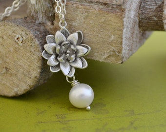 Silver Lotus Necklace, Freshwater Pearl, Sterling Silver Chain, Water Lily Pearl Pendant, June Birthstone, Gift Under 30