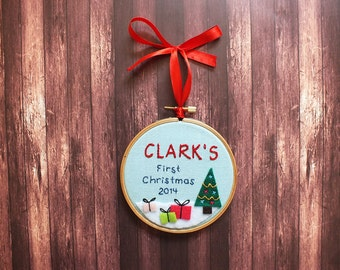 Baby Christmas first ornament, baby Christmas gift, personalized, custom ornament, baby's first Christmas, first christmas gift
