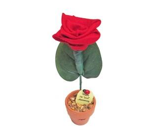 7th Anniversary gift - wool rose