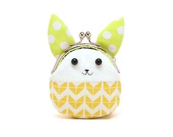 Little yellow chevron rabbit mini coin purse