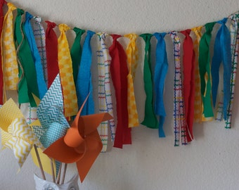 Wedding Garland Circus Party Rag Tie Banner Garland (Custom orders welcomed)