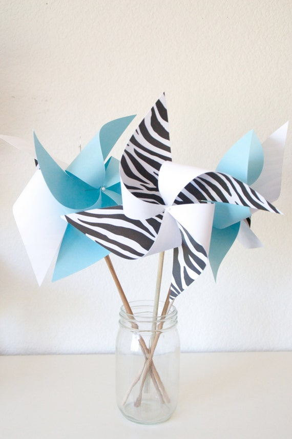 Baby Blue Zebra Birthday Carnival Circus Decor Baby Shower Decor - 6 ...