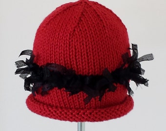 Miss Muffet Red & Black Baby Hat With A Black Band of Ribbons