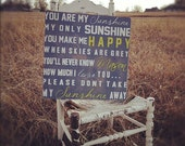 You Are My Sunshine Sign Wall Art on Wood or Canvas, Personalized Baby Sign, Wall Art Canvas or Wood