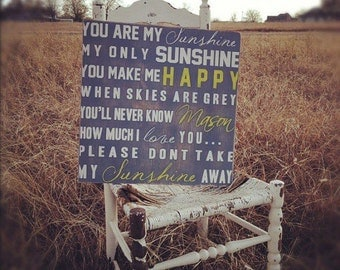Personalized Baby Gifts You Are My Sunshine My Only Sunshine Wall Art Typography on Wood or Canvas