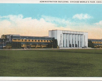 Chicago Worlds Fair 1933 Administration Bldg  PC Uncirculated