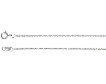 14kt white gold cable chain 1mm 18 inches