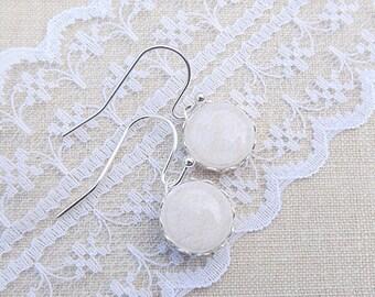 Beige Lace Earrings - Tiny Dangle Earrings - Bridal Earrings - Wedding Earrings - Everyday Earrings - For Her