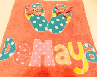 Personalized Towel applique name great for beach, bath. Birthday Gifts , Daycare