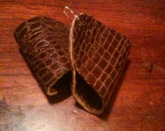 Leather earrings, two toned.(smaller size)
