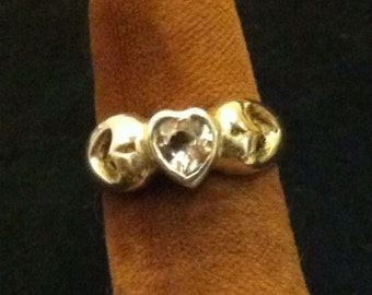 White Topaz Heart Ring Sterling Silver size 4 1/2 sizable
