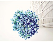 Mulberry Scrapbooking paper flower tiny blueberry rose Buds for crafting, wedding decoration / pack