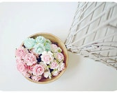 Millinery flowers heartshape Buds paper flower mixed pink, aqua and white-pink color / pack