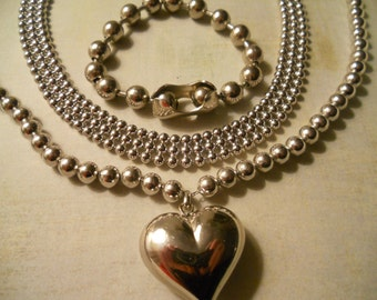 Ball Chain Jewelry - 2 Classic Beautiful Necklaces and Amazing Oversize Bracelet
