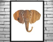Quirky Wood Patterned Elephant Wall Art, Digital Print, DIY T-shirt Transfer - Instant Digital Download PLUS Transparency